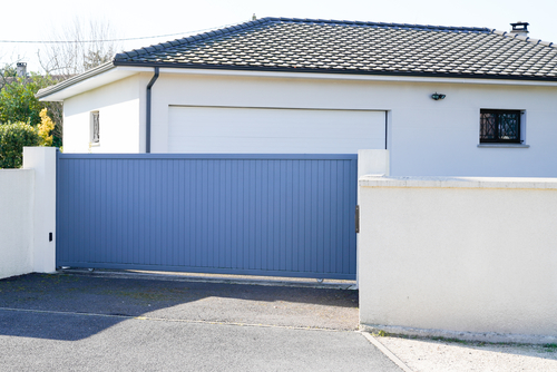 Automatic Sliding grey gate modern house